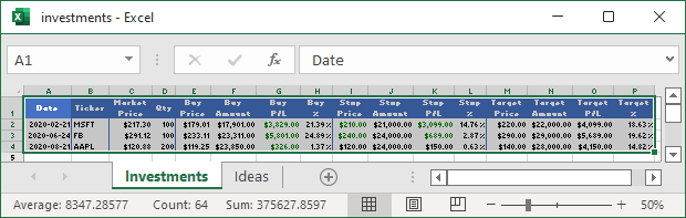 Data in Excel 365