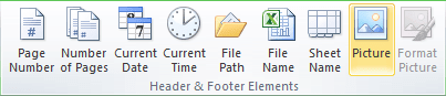 Header and Footer Elements group in Excel 2010