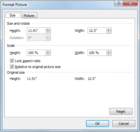 Format Picture in Excel 2010