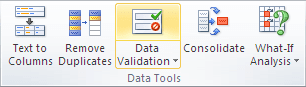 Data Tools group in Excel 2010