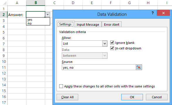 List of Data Validation in Excel 2013