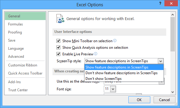 General Excel 2013 options