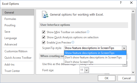 General Excel 2016 options