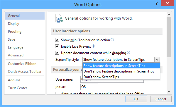 General Word 2013 options