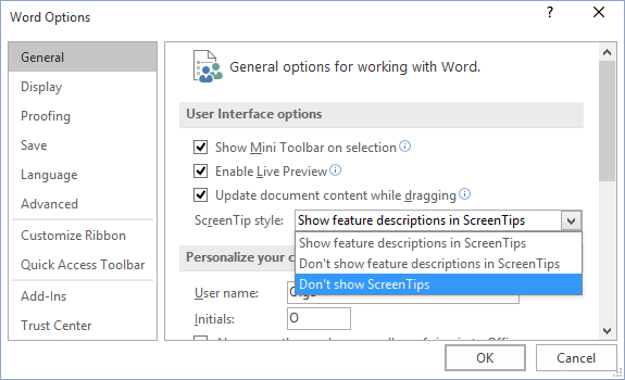General Word 2016 options