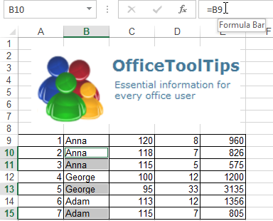 Formula bar in Excel 2013