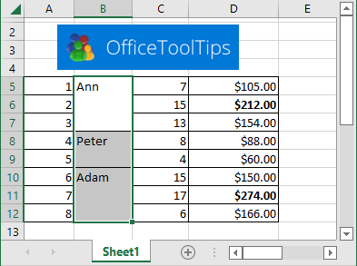 Paste values to unmerged cells in Excel 365