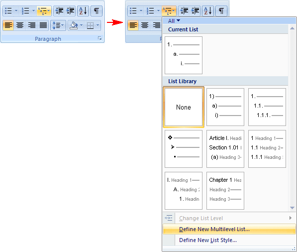 Multilevel List menu in PowerPoint 2007