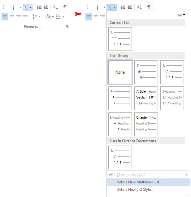 Multilevel List menu in Word 2013