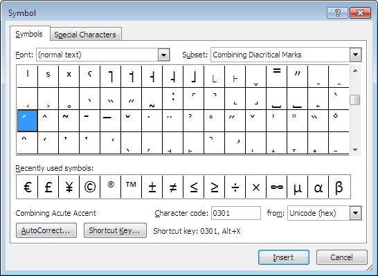 Symbol in Word 2010