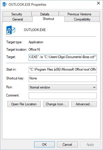 Shortcut Outlook 2016