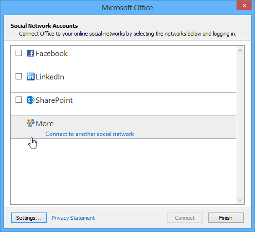 Social network accounts in Outlook 2013