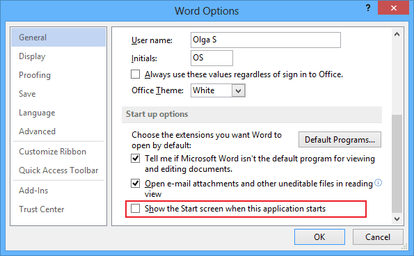 Options in Word 2013