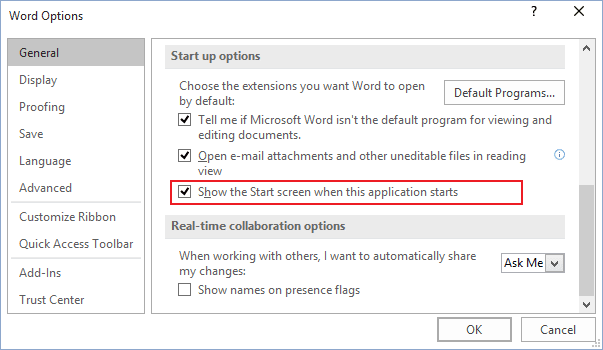 Options in Word 2016