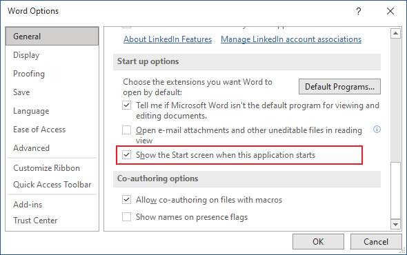 Options in Word 365