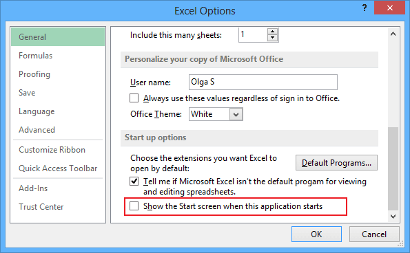 Options in Excel 2013