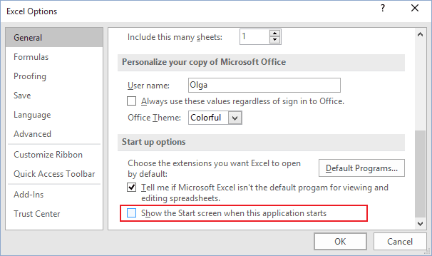 Options in Excel 2016