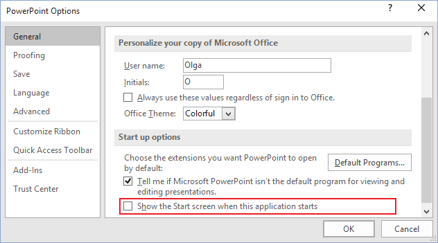Options in PowerPoint 2016