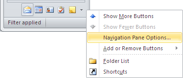 Navigation Bar in Outlook 2010