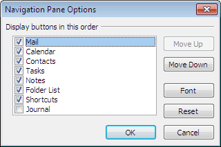 View order in Outlook 2010