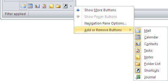 Buttons on Navigation Bar in Outlook 2010