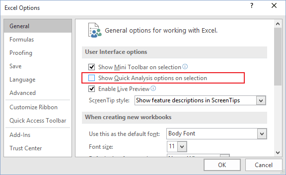 General tab in Excel 2016
