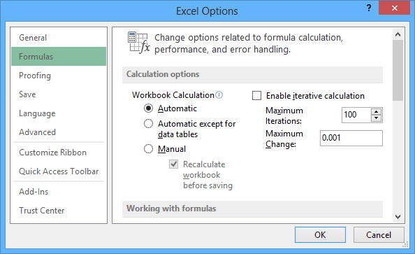 Formulas Options in Excel 2013