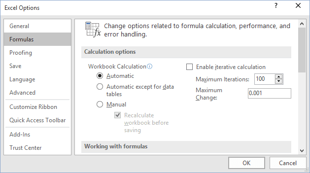 Formulas Options in Excel 2016