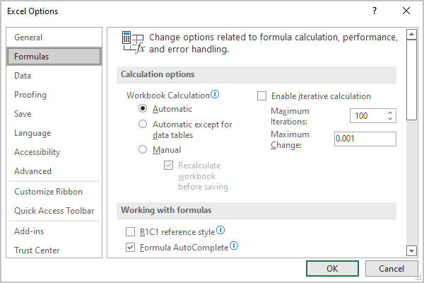 Formulas Options in Excel 365