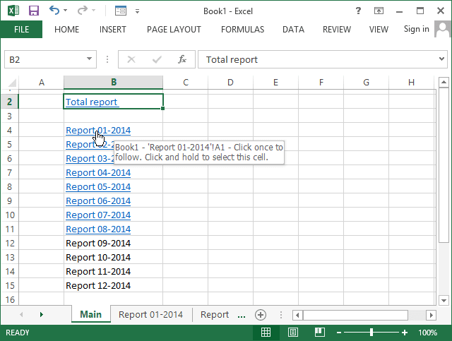 Hyperlinks in Excel 2013
