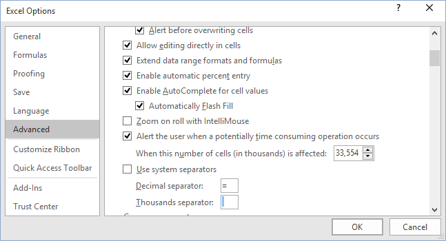 Separators Excel 2016 options