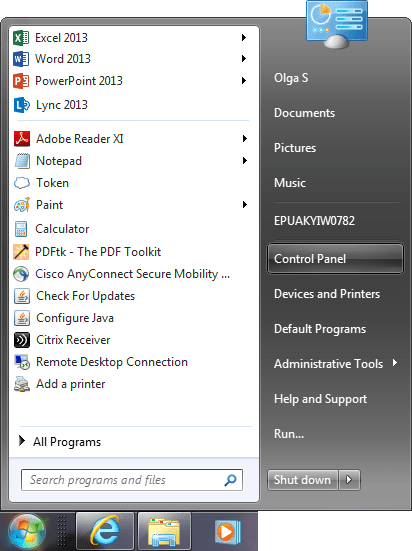 how to open control panel in windows 7