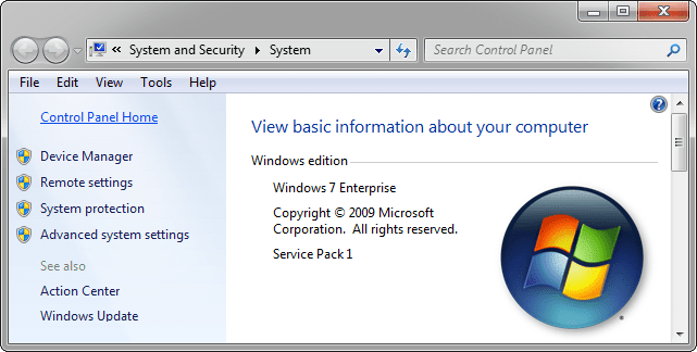 Windows 7 system