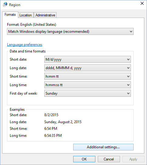 Additional settings Windows 10