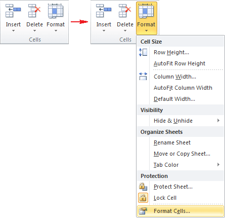 Cells group in Excel 2010