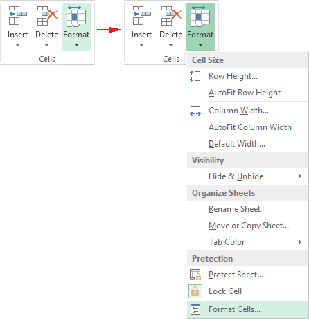 Cells group in Excel 2013