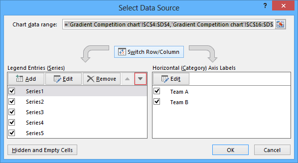 Edit data series in Excel 2013