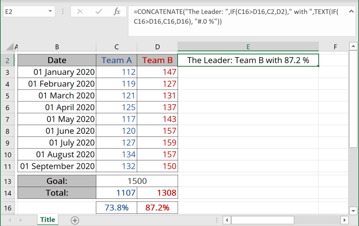 Data for chart title in Excel 365