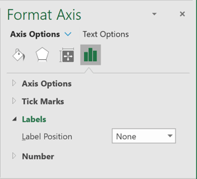 Hide values in Axis options in Excel 365