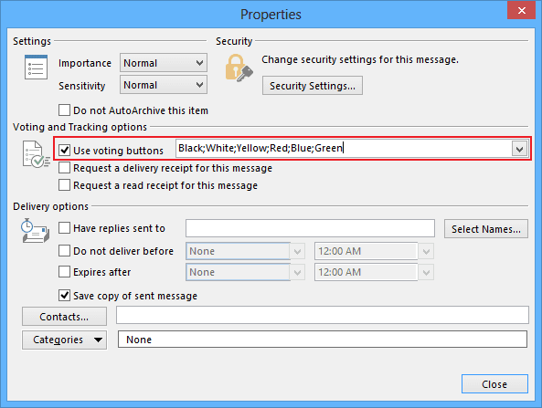 E-mail Properties in Outlook 2013