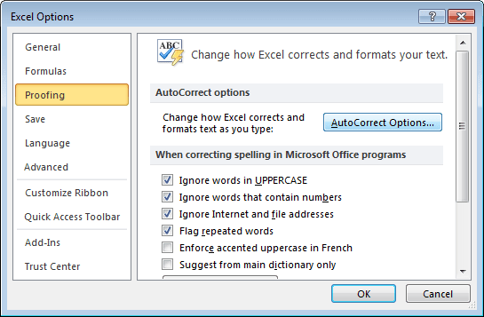 Proofing in Excel 2010