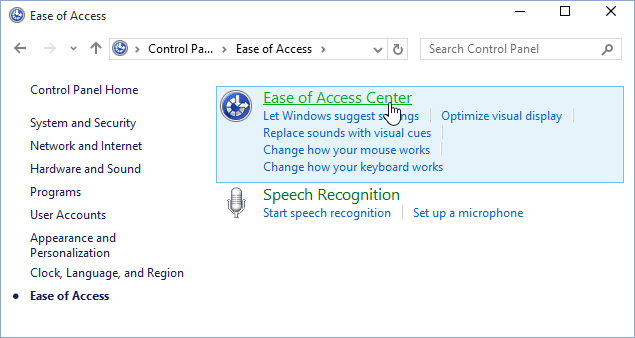 Ease of Access Center Windows 10
