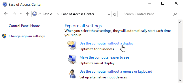 Use the computer without a display Windows 10