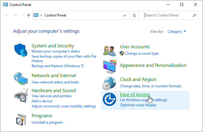 Ease of Access Windows 10