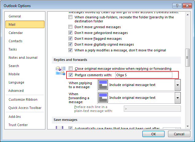 Replies and forwards in Outlook 2010