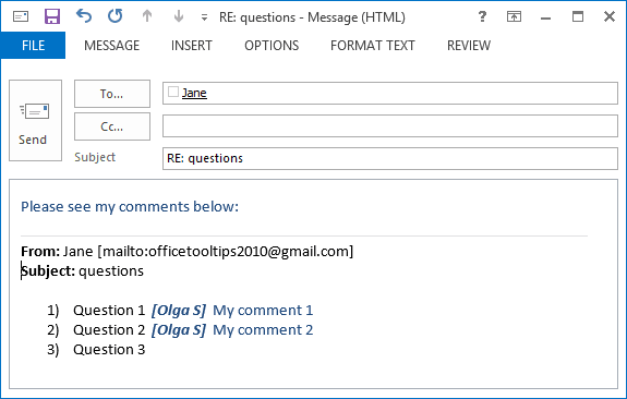 Example of comments in Outlook 2013