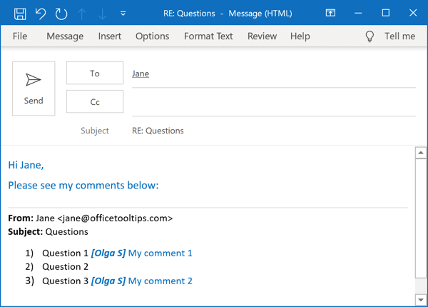 Example of comments in Outlook 365