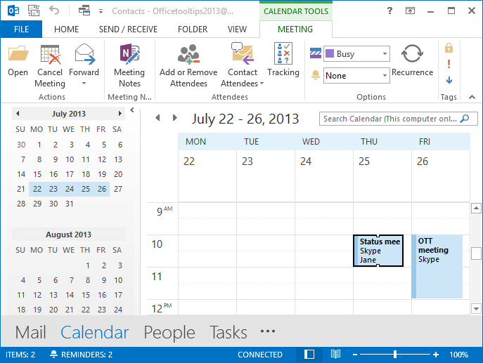 Open calendar in Outlook 2013