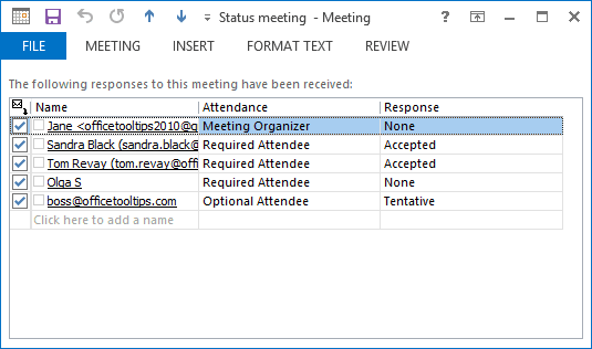 Tracking meeting request in Outlook 2013