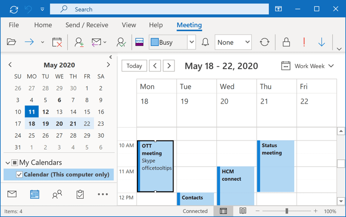 Open calendar in Outlook 365